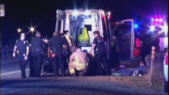 Two people crash motorcycle after losing control in North